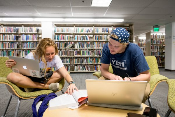 Student studying individually and in groups at the Morgan Library on the Colorado State University campus, September 24, 2019.